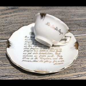 Vintage Decorative Tiny Tea Cup 'The Lords Prayer'